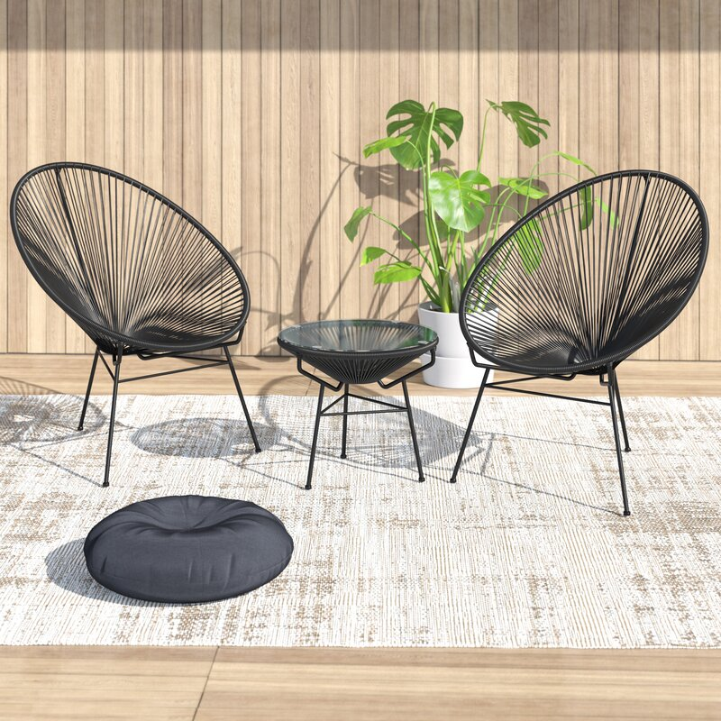 Ehrlich 3 Piece Rattan Sofa Seating Group with Cushions $429.99