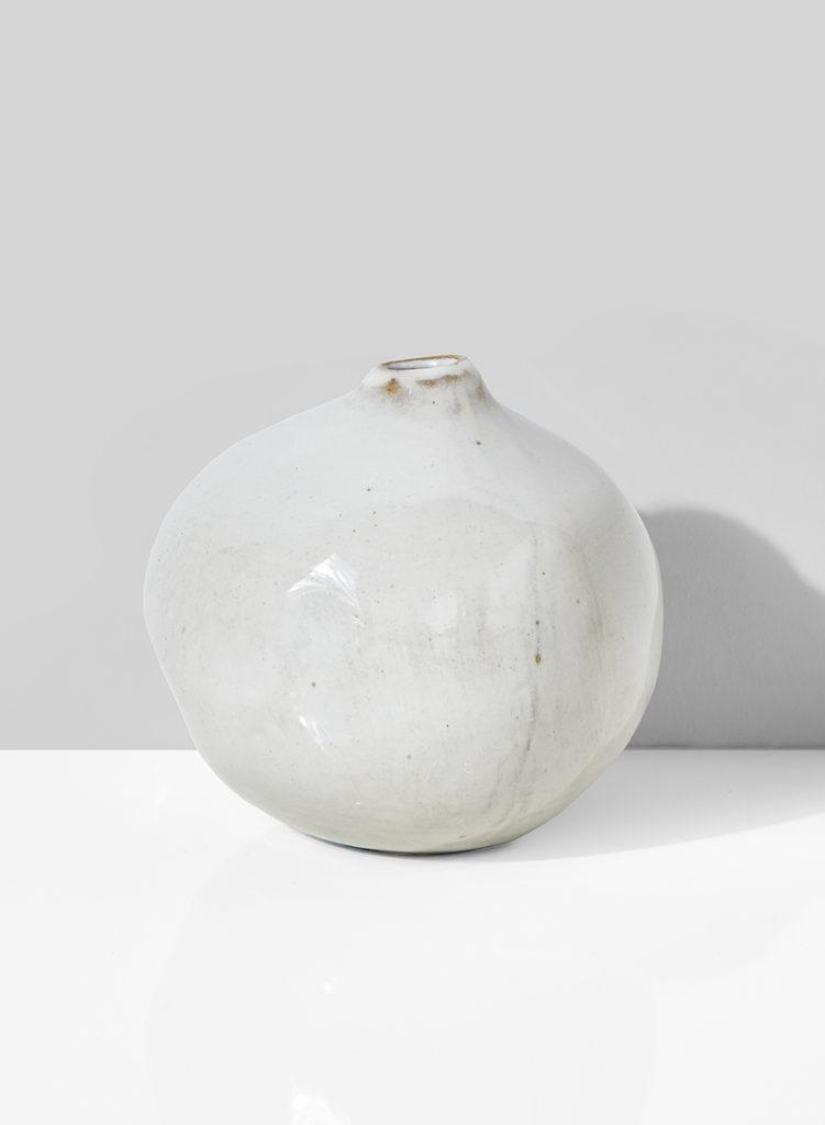 3 3/4in White Potter's Pomegranate Bud Vase $5.00