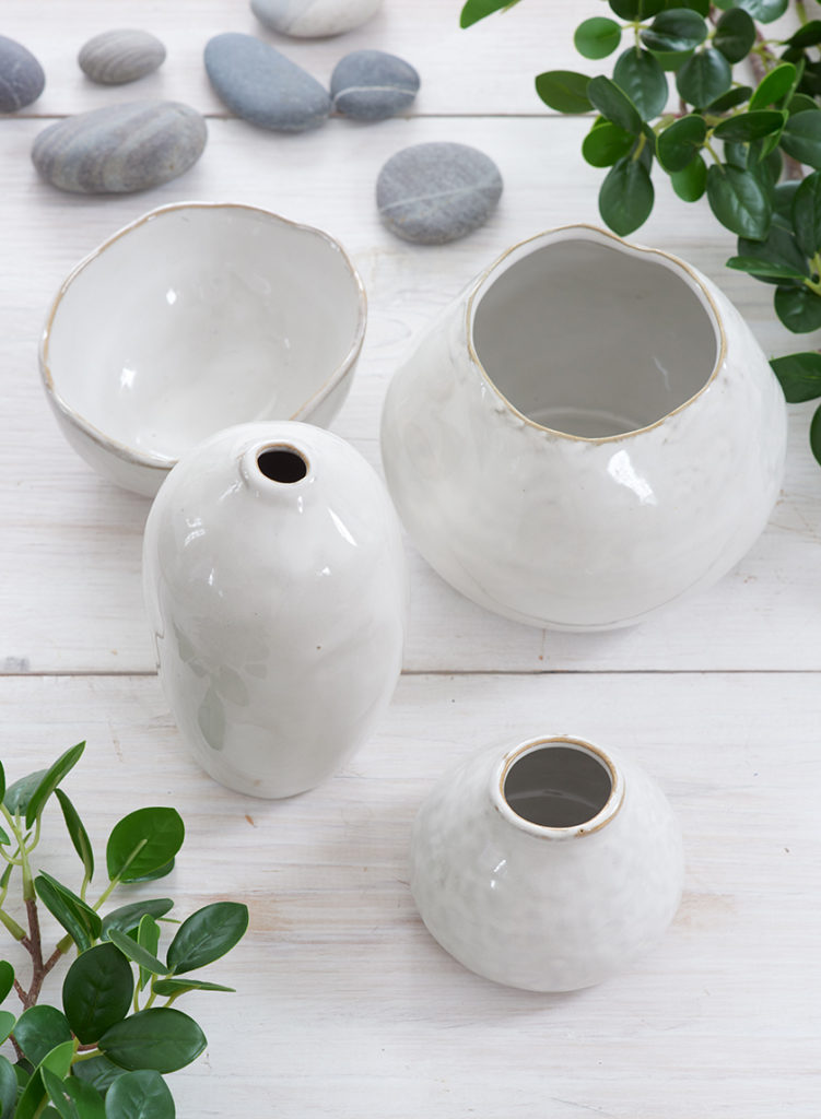 Mini Glazed Ceramic Bud Vase, Set of 4 $18.00