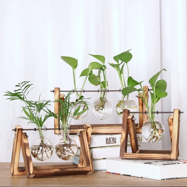 Glass Planter Bulb Vase with Retro Solid Wooden Stand $8.00