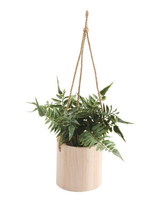 7x12 Fern In Hanging Wooden Planter $12.99