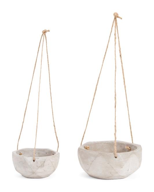 Set Of 2 Hanging Concrete Planters $7.99
