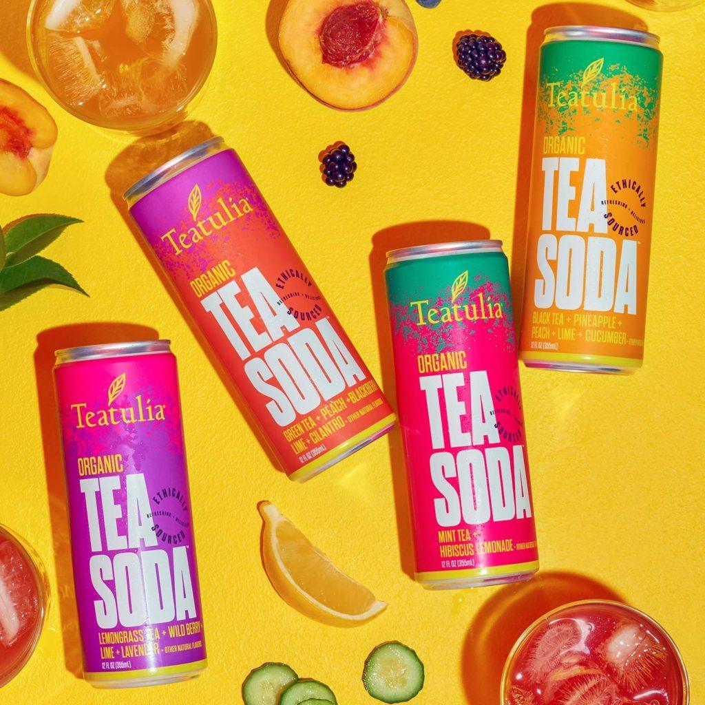 Teatulia Organic Tea Soda Bundle Sampler 8 Pack - Fizzy, Fruity, Tea $24.95