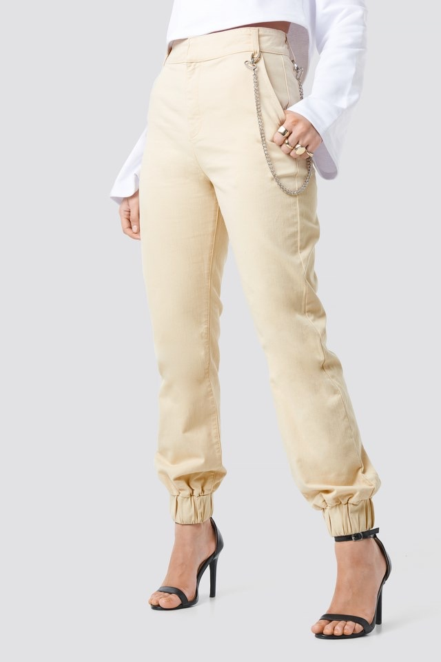 Side Chain High Waist Chino Joggers Beige $71.95