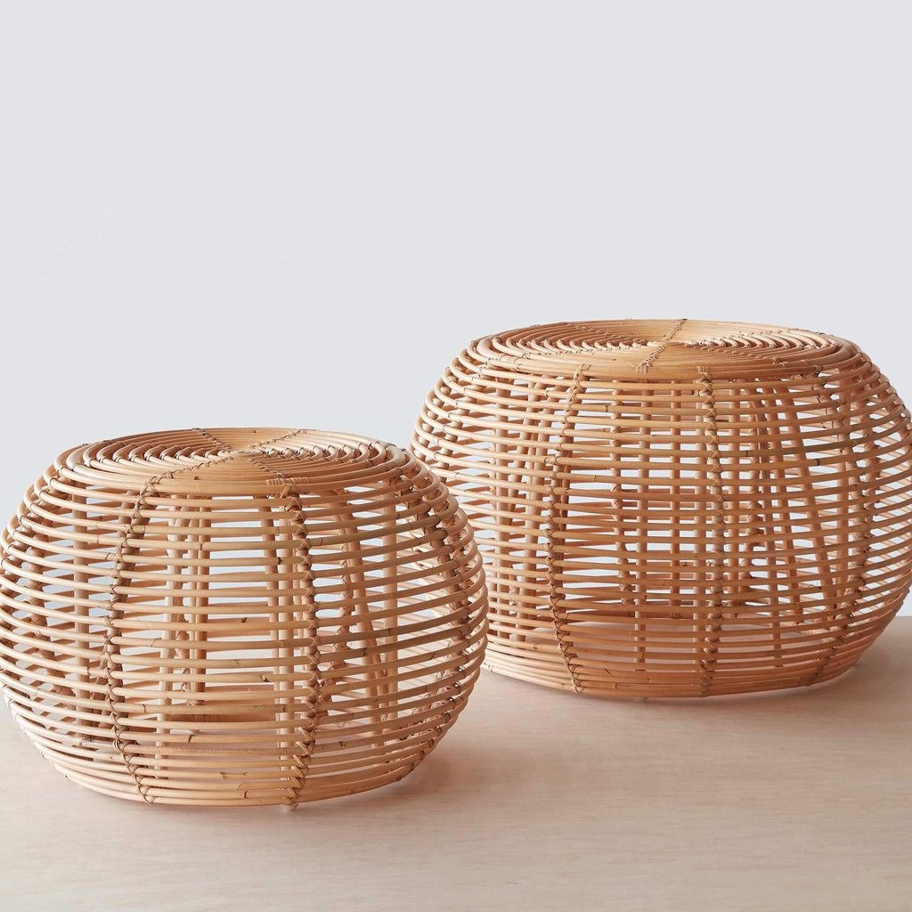 JAVA RATTAN OTTOMANS - SMALL OR LARGE $ 255