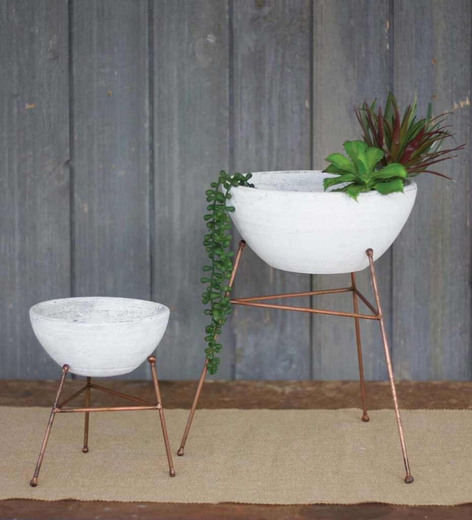 Whitewash Clay Bowl/ Planters On Copper Stand, Set Of Two $79.95