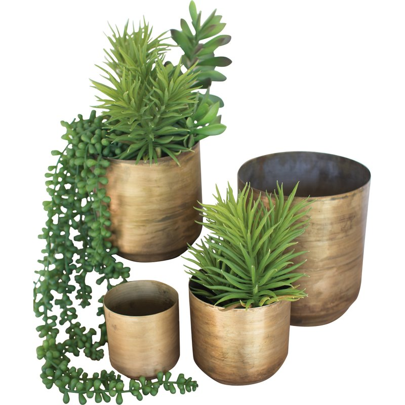 Verner Flower 4 Piece Metal Pot Planter Set $59.99