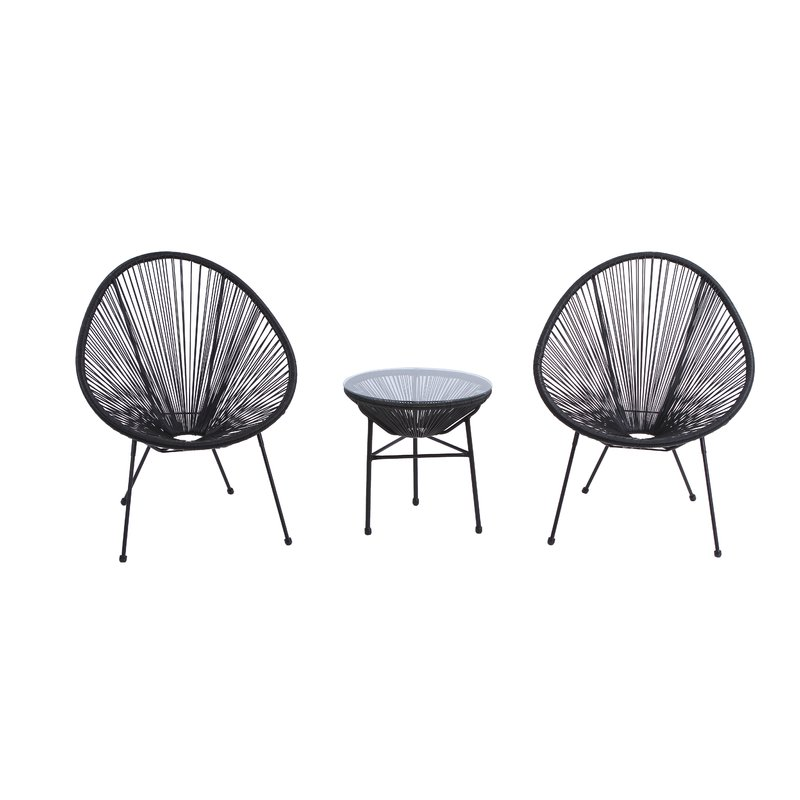 Zion 3 Piece Rattan 2 Person Seating Group $329.99