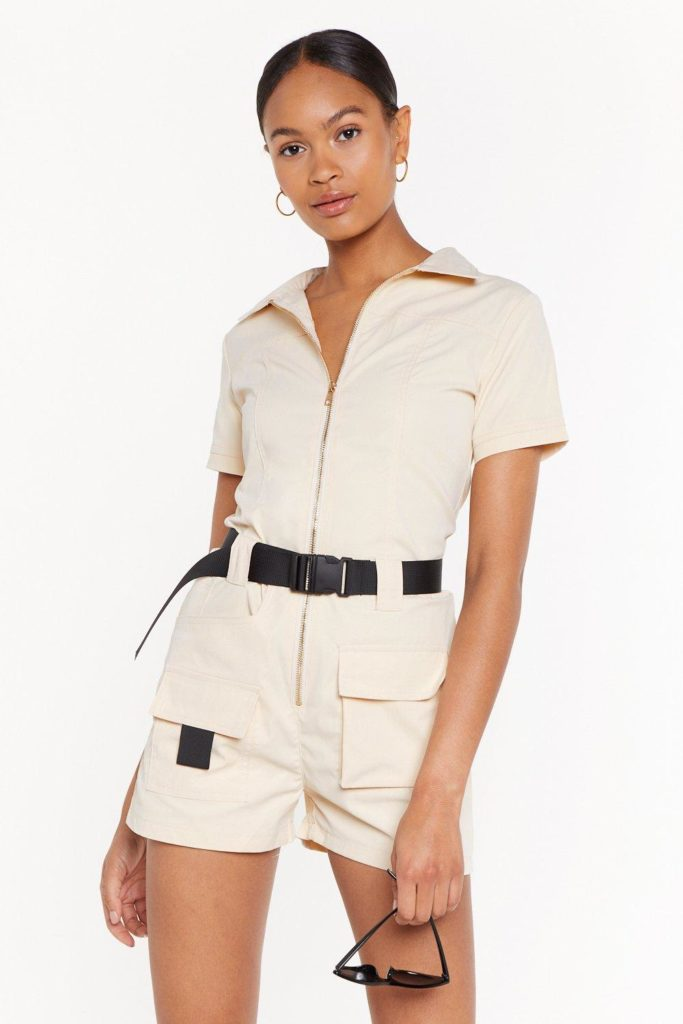 Ready to Roll Belted Utility Romper $45.00