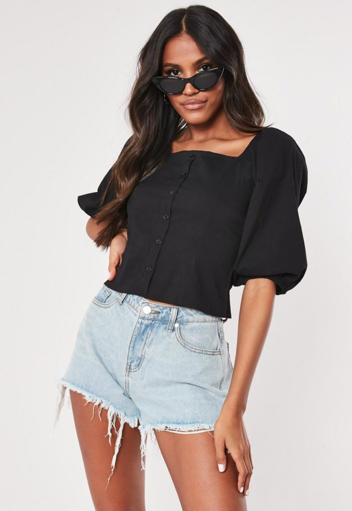 black linen look puff sleeve milkmaid crop top $37.00