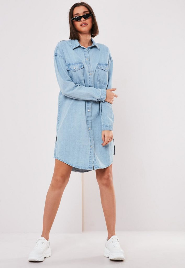 blue denim shirt dress$47.00
