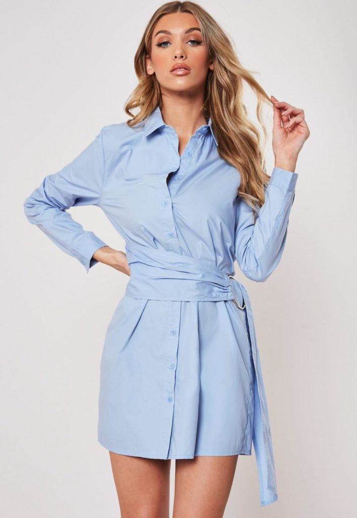 blue poplin belted shirt dress $47.00