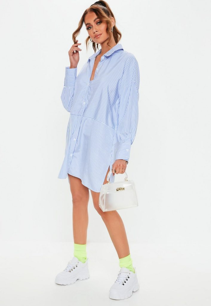 blue stripe drop back oversized shirt dress $47.00