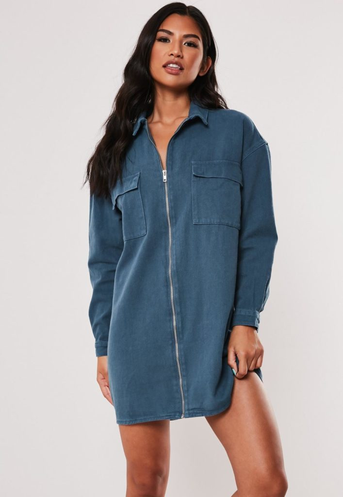 blue utility pocket zip through denim dress $59.00