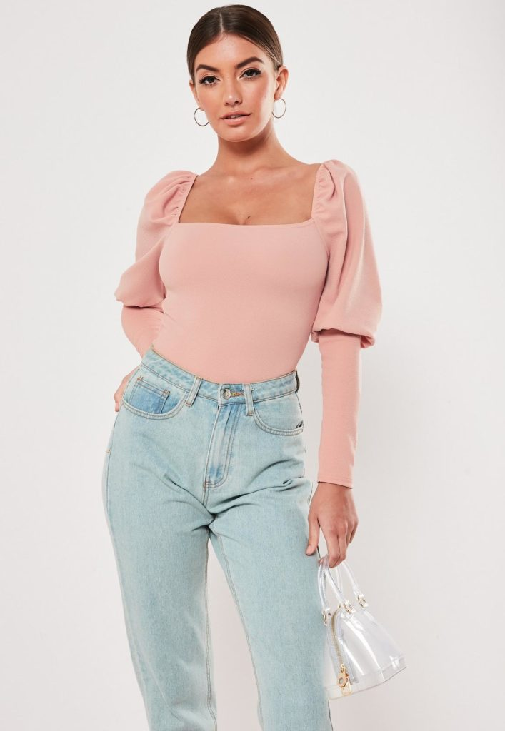 blush square neck puff sleeve bodysuit$25.00