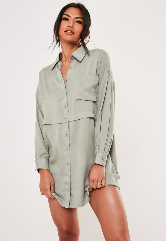 green utility shirt dress $47.00