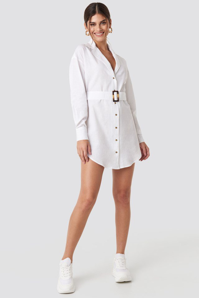 Belted Oversized Linen Look Shirt Dress White $59.95
