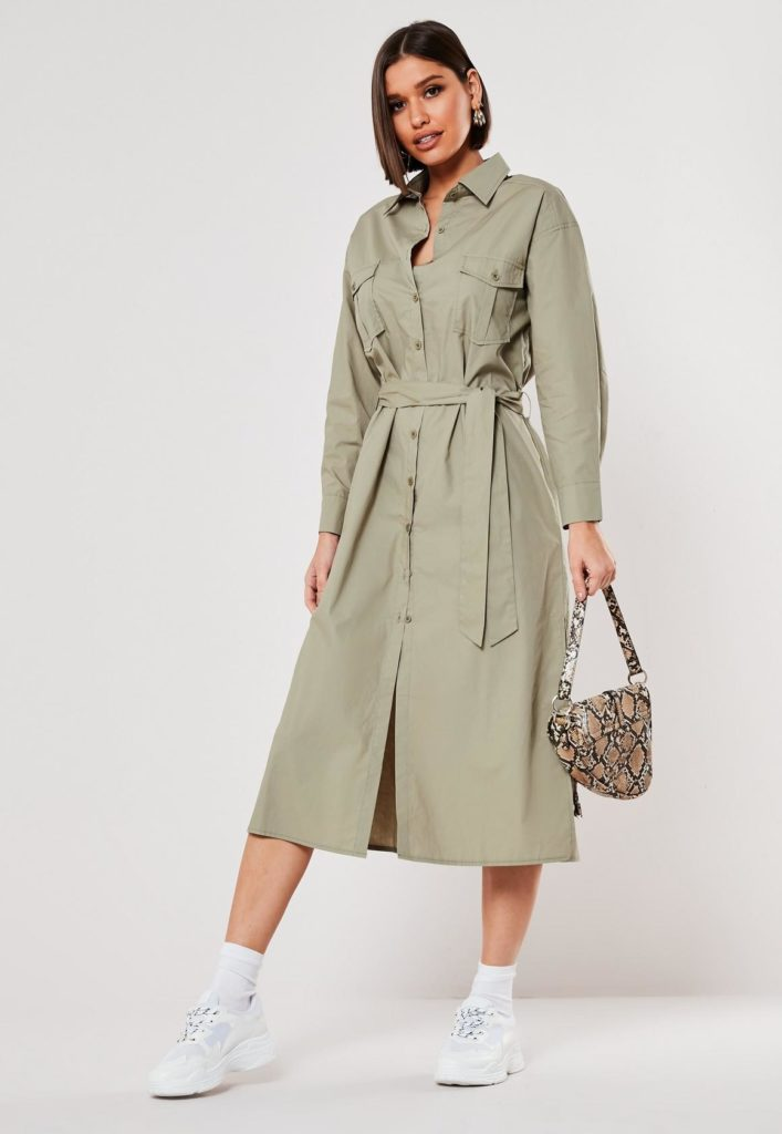 khaki poplin belted midi shirt dress $51.00