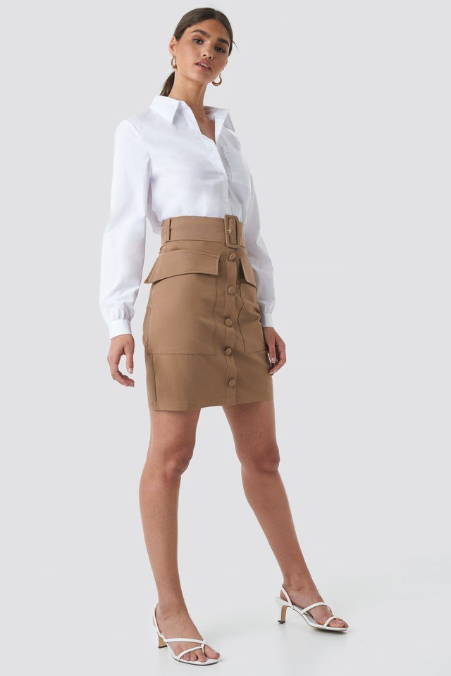 Cargo Belted Skirt Brown $59.95