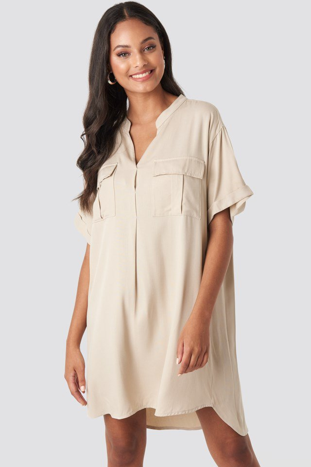 Oversized Cargo Tunic Dress Beige $47.95