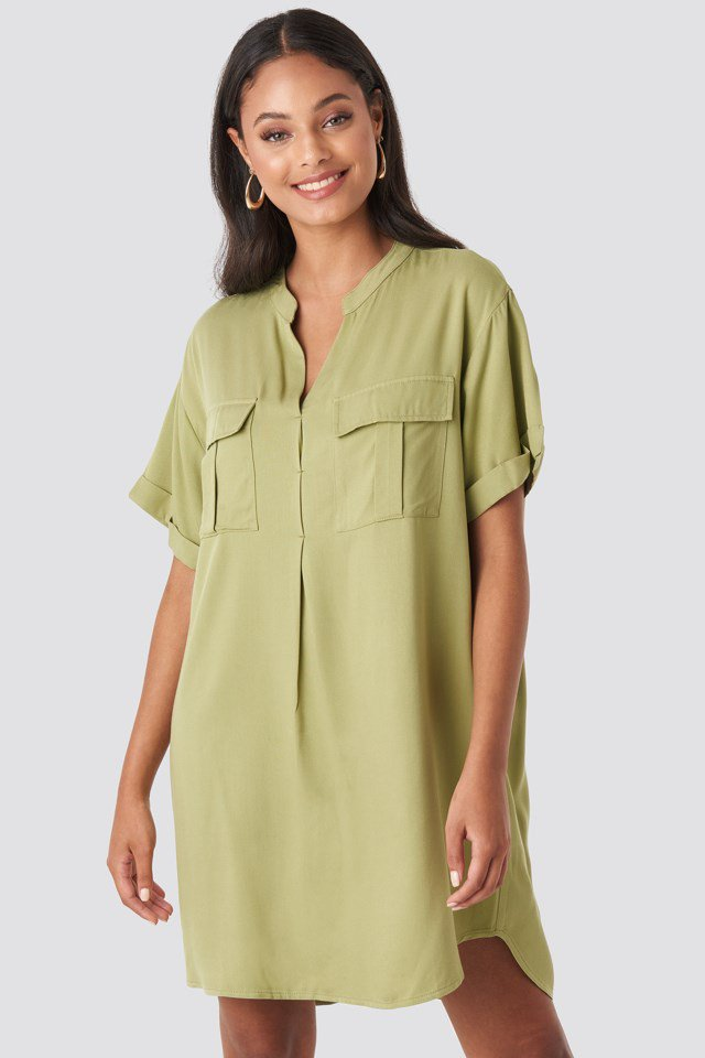 Oversized Cargo Tunic Dress Green $47.95