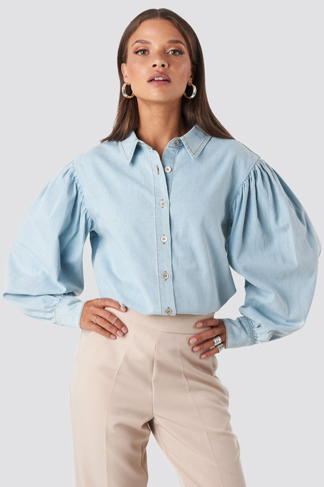 Puff Sleeve Denim Shirt Blue $53.95