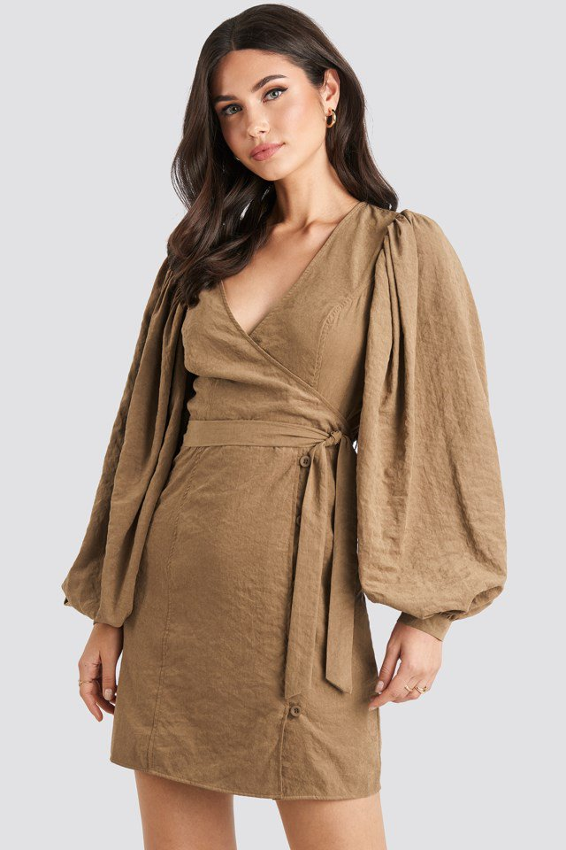 Puff Sleeve Tie Waist Dress Brown $59.95