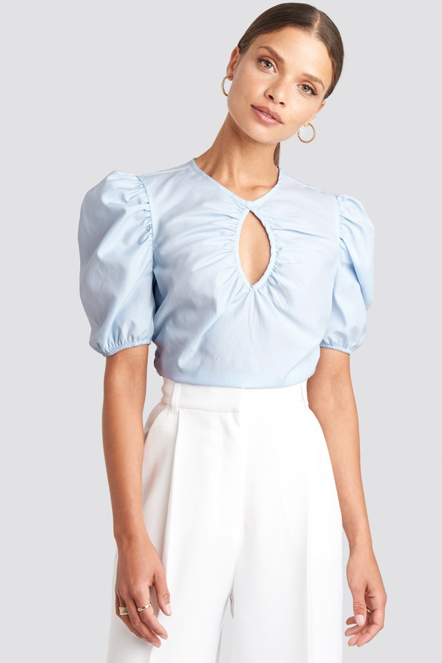 Short Puff Sleeve Keyhole Front Blouse Blue $35.95