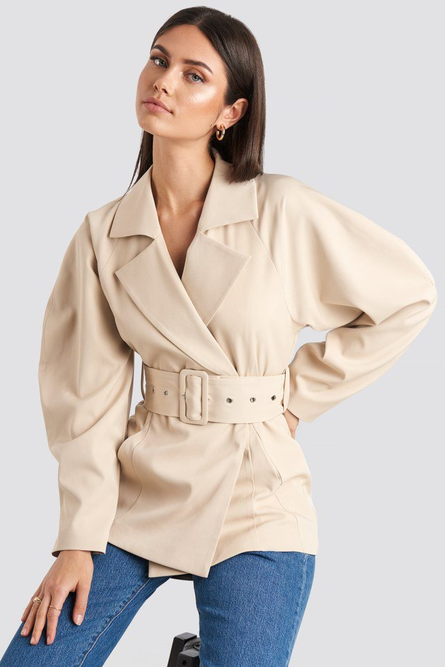 Wide Belt Blazer Beige $83.95