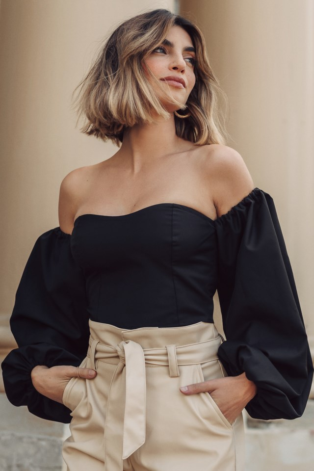 Off Shoulder Puff Sleeve Blouse Black $41.95