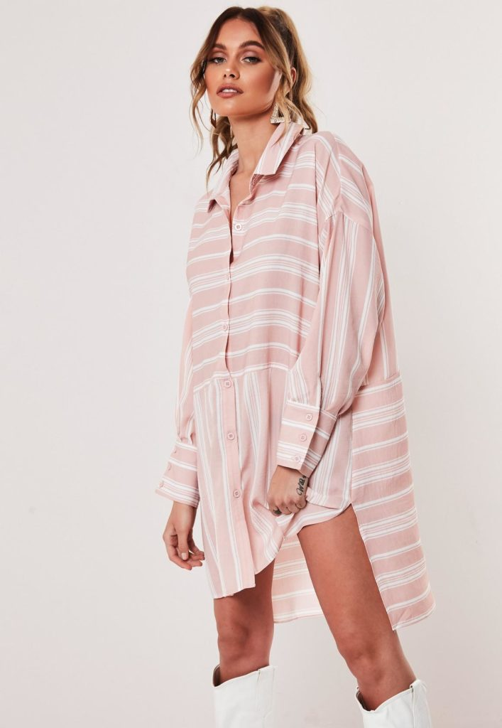 nude stripe oversized dip back shirt dress $47.00