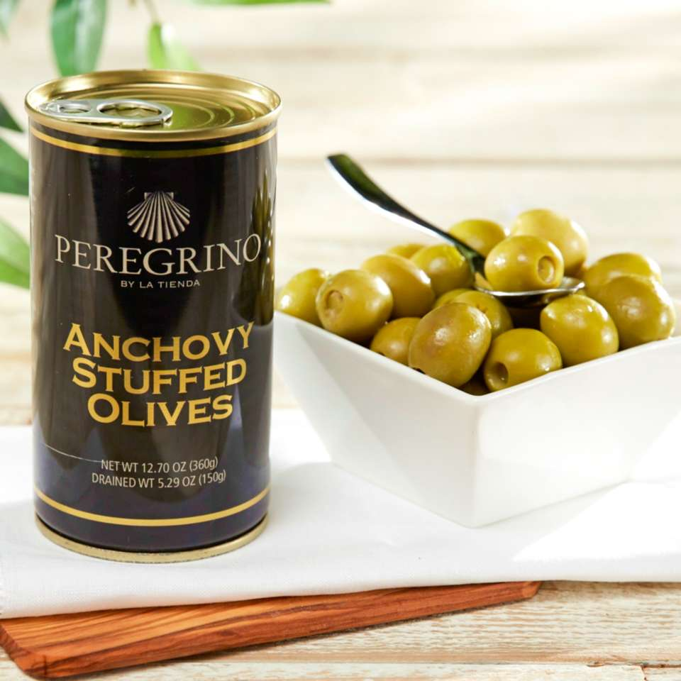 2 Tins of Anchovy Stuffed Olives by Peregrino - 'Extra' Quality $9.95