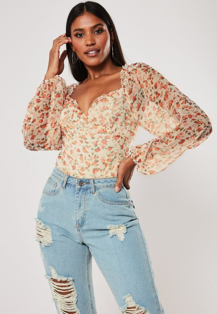 orange floral ditsy milkmaid bodysuit $42.00