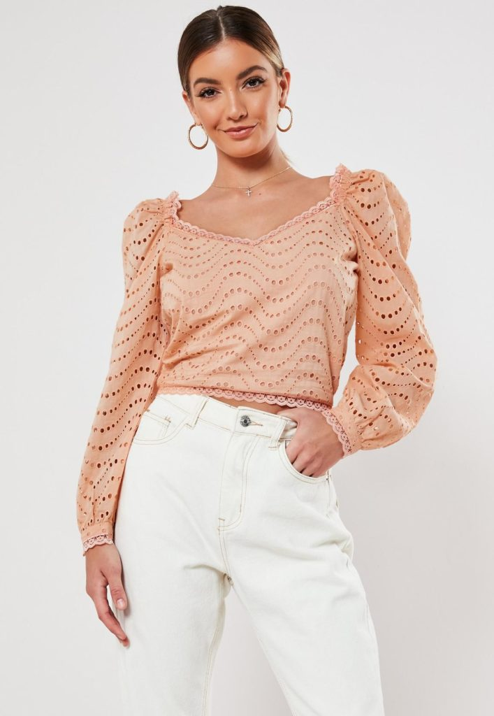 peach broderie anglaise puff sleeve crop top$30.00