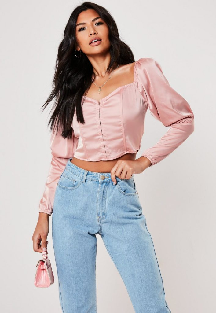 pink satin puff sleeve corset crop top$37.00