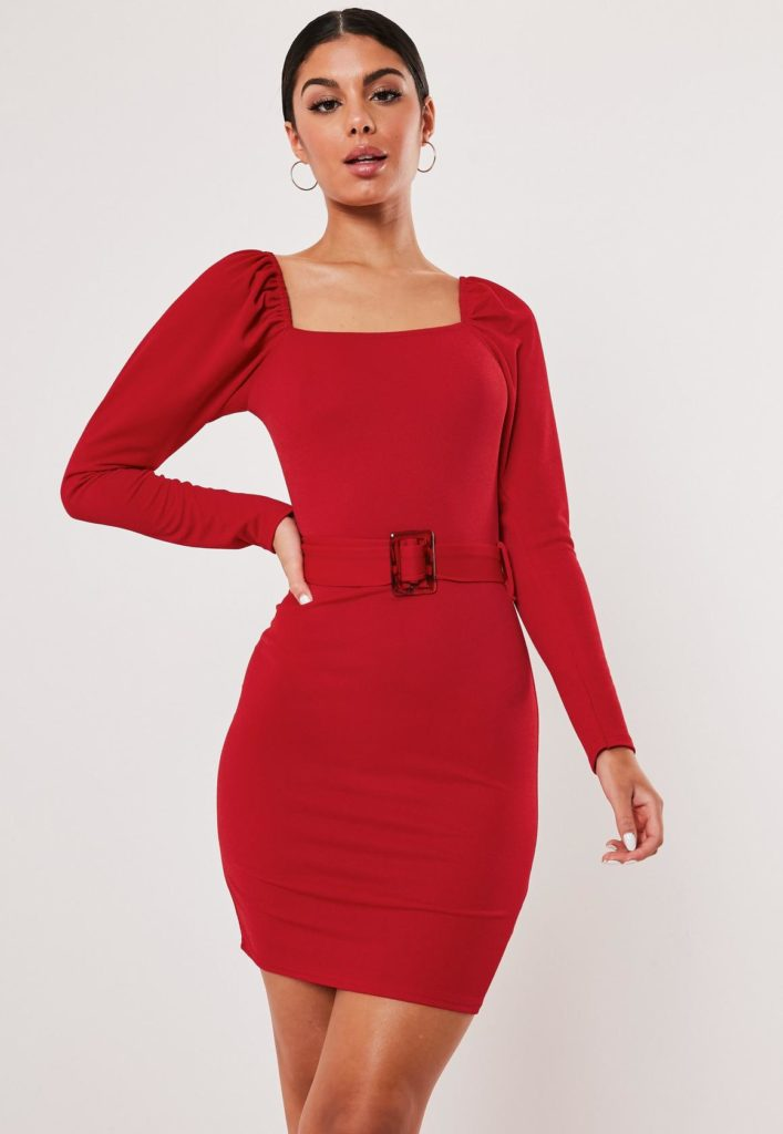 red milkmaid belted bodycon mini dress $34.00
