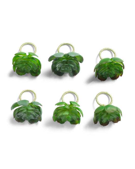 Set Of 6 Large Succulent Napkin Rings $7.99