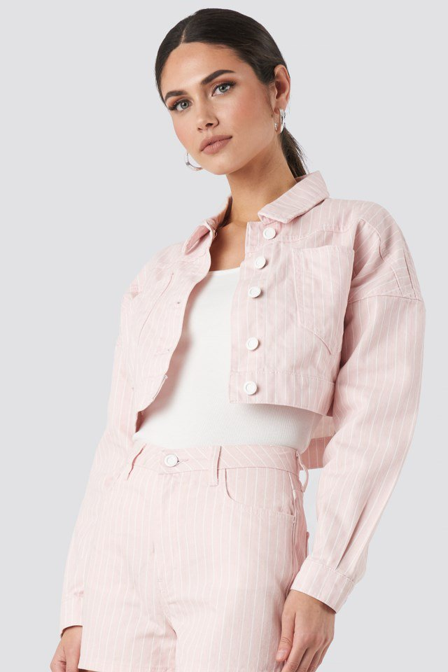 Striped Denim Jacket Pink $47.95