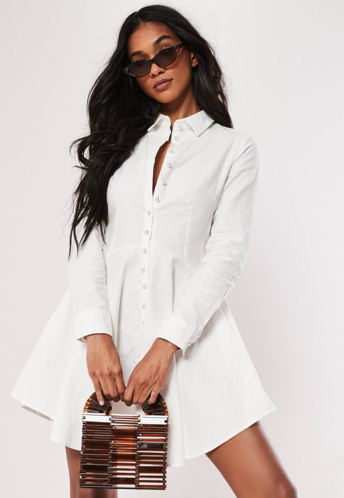 white cotton button down skater shirt dress $47.00