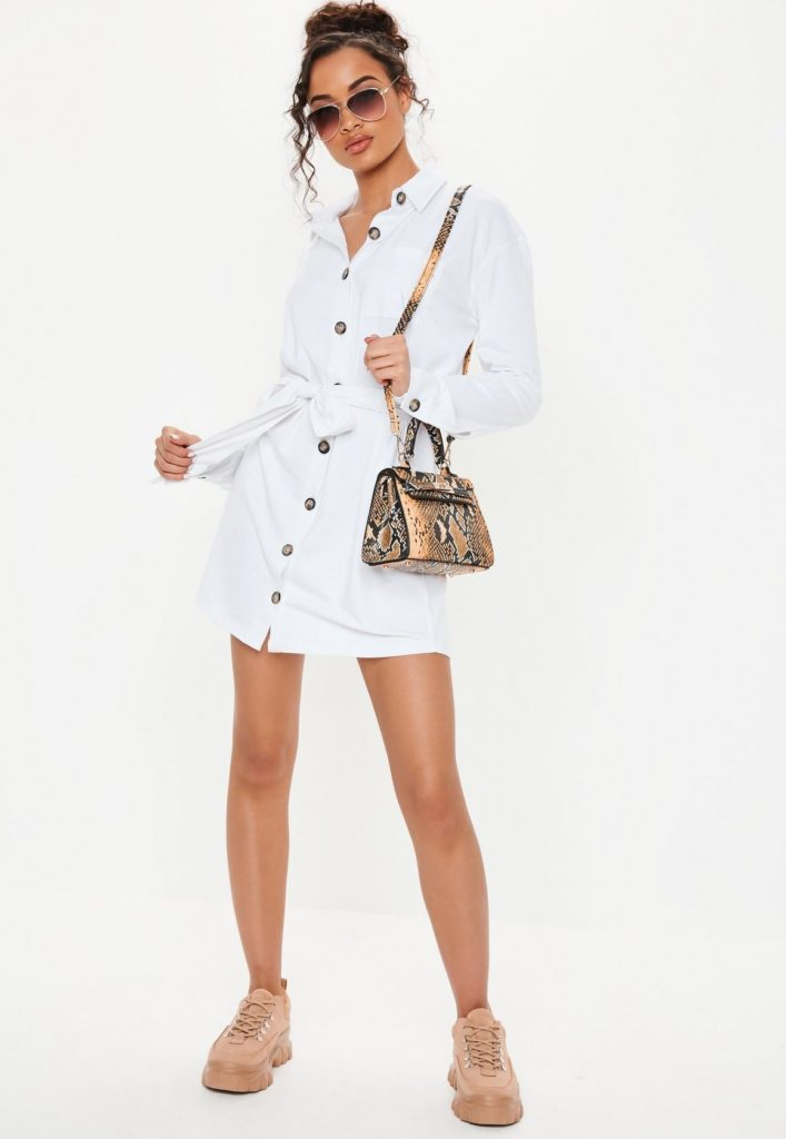 white jersey tie waist oversized utility shirt dress $37.00