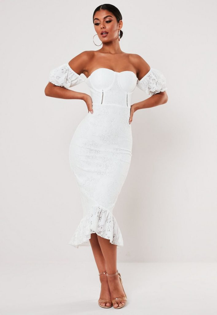 white lace bardot fishtail midi dress $68.00