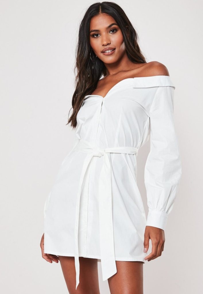 white poplin belted bardot shirt dress $47.00