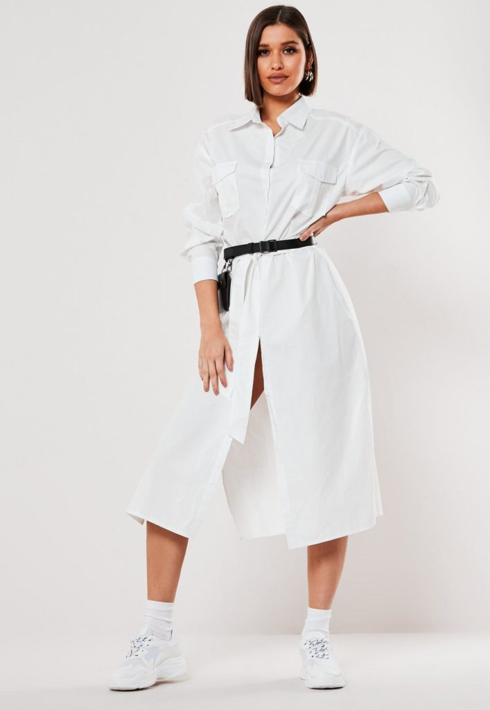 white poplin belted midi shirt dress $51.00