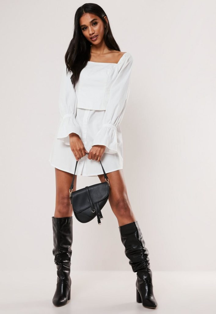 white poplin corset shirt dress $47.00