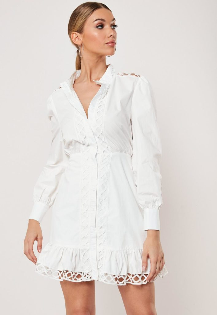 white poplin lattice detail shirt dress $51.00