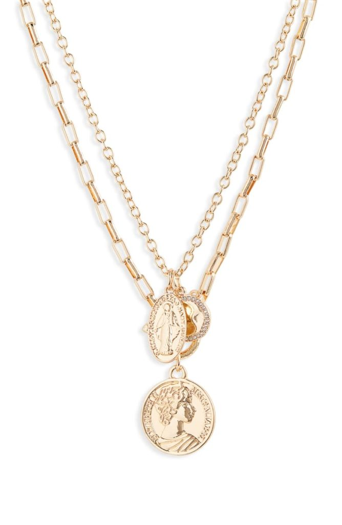 Layered Chain Medallion NecklaceBP. $35.00