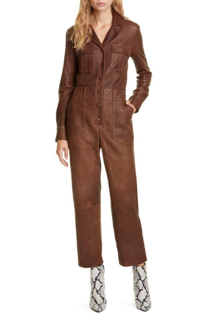 Artemis Leather Utility Jumpsuit VERONICA BEARD $1495.00