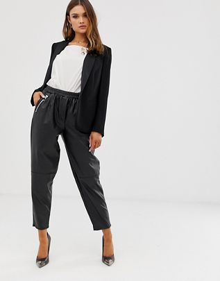tapered leather look pants $48.00