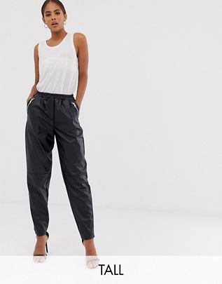 Tall tapered leather look pants $48.00