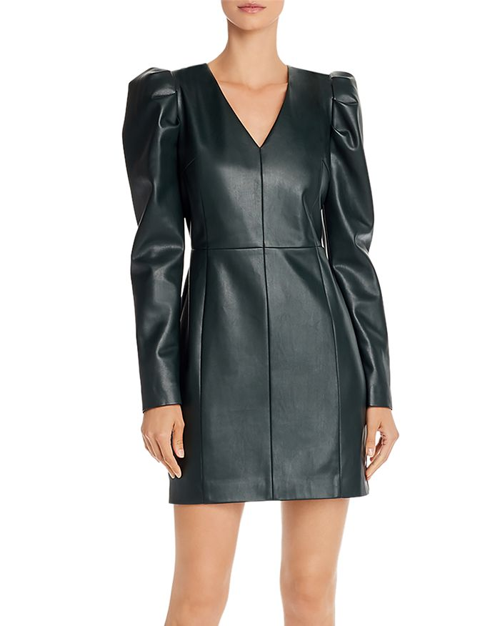 AQUA Luxe Puff-Sleeve Faux Leather Dress $148.00